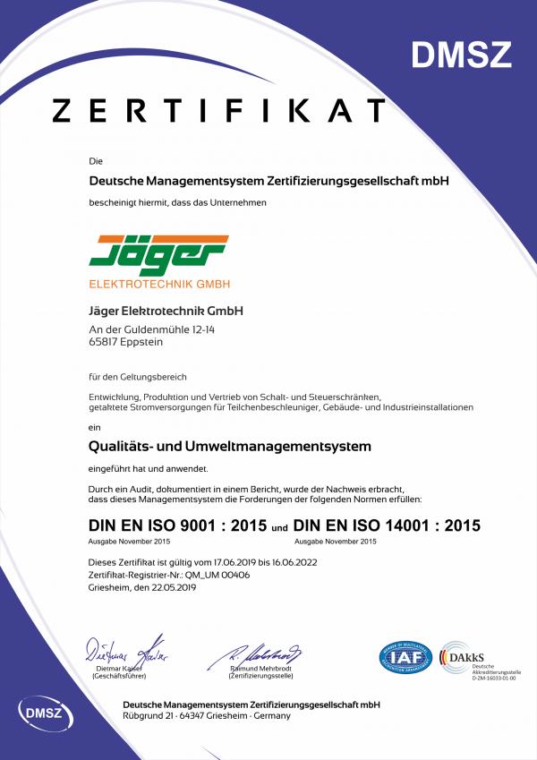 Qualitäts- und Umweltmanagementsystem Zertifikat