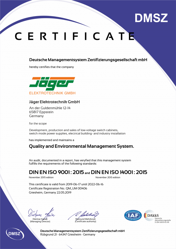 Quality and Environmental Management System Certificate